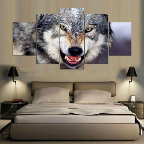 Wall Art Wolf Pattern Unframed Canvas Paintings - GRAY 1PC:8*20,2PCS:8*12,2PCS:8*16 INCH( NO FRAME )