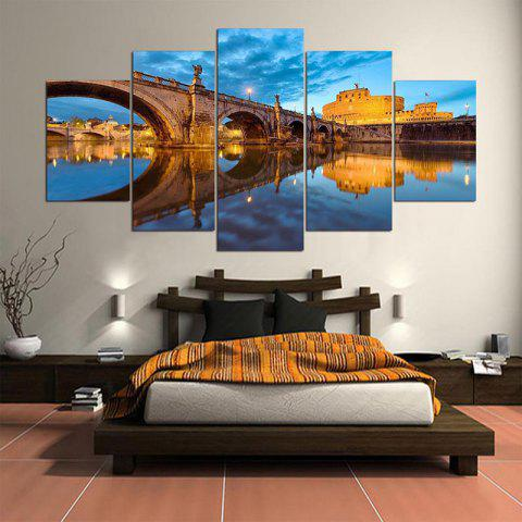 Bridge Scenery Printed Painting Canvas Unframed Wall Art - COLORFUL 1PC:8*20,2PCS:8*12,2PCS:8*16 INCH( NO FRAME )