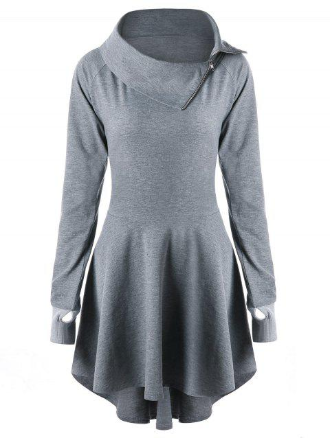 Raglan Sleeve Lace Up Mini Swing Dress - GRAY L