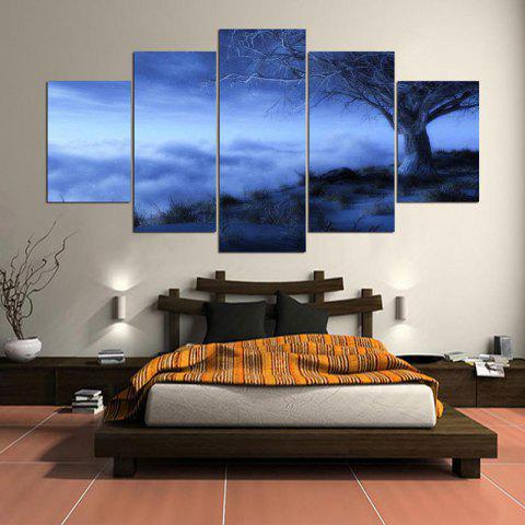 Forest Mist Landscape Picture Wall Art on Canvas Unframed - GRAY 1PC:8*20,2PCS:8*12,2PCS:8*16 INCH( NO FRAME )
