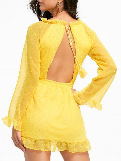 Chiffon Open Back Mini Belted Dress - YELLOW M
