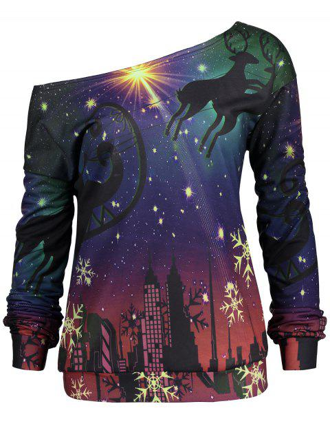 Snowflake Elk Plus Size Christmas Party Sweatshirt - PURPLE 2XL