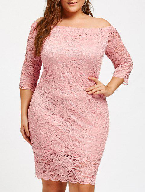 Off Shoulder Plus Size Lace Dress - PINK 2XL