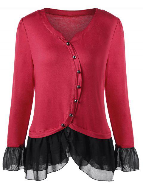 Plus Size Two Tone Button Decorated Top - RED 2XL