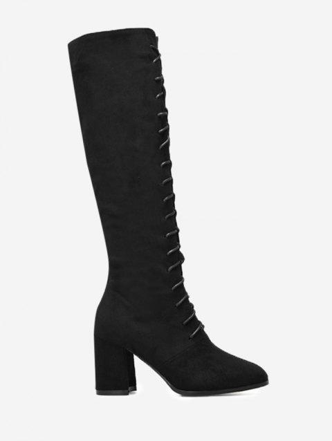 Lace Up Chunky Heel Knee High Boots - BLACK 38