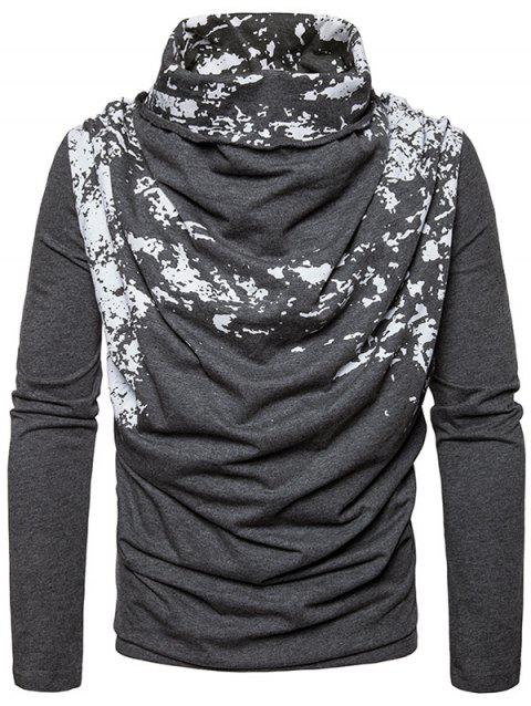 Cowl Neck Splatter Paint Pleat T-shirt - DEEP GRAY S