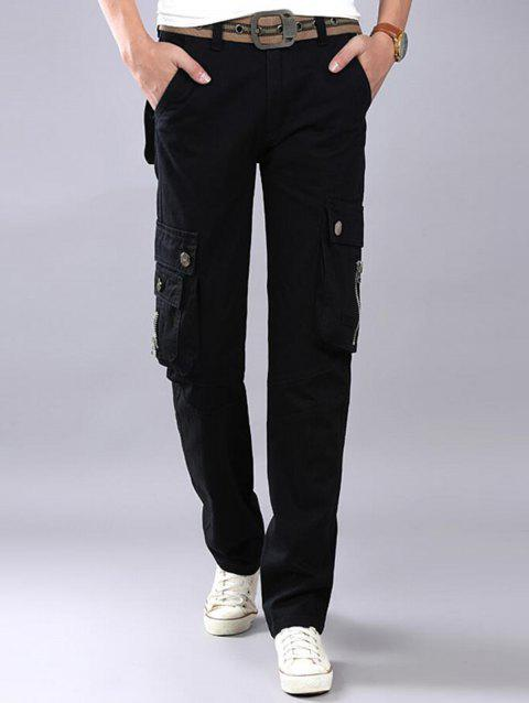 Casual Zip Fly Flap Pockets Cargo Pants - BLACK 36
