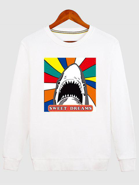 Cartoon Print Shark Graphic Sweatshirt - WHITE M