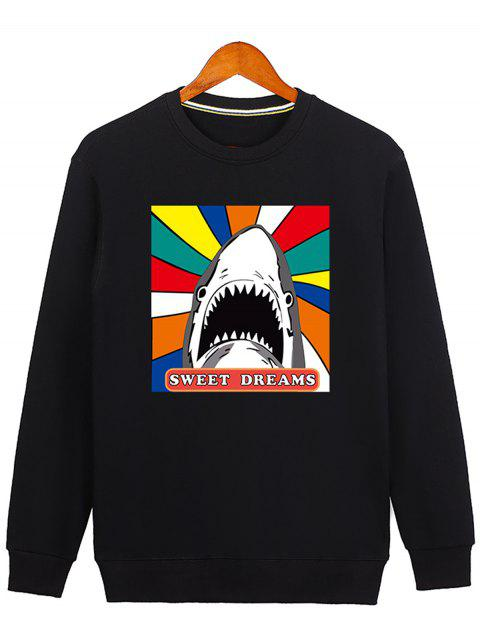 Cartoon Print Shark Graphic Sweatshirt - BLACK M