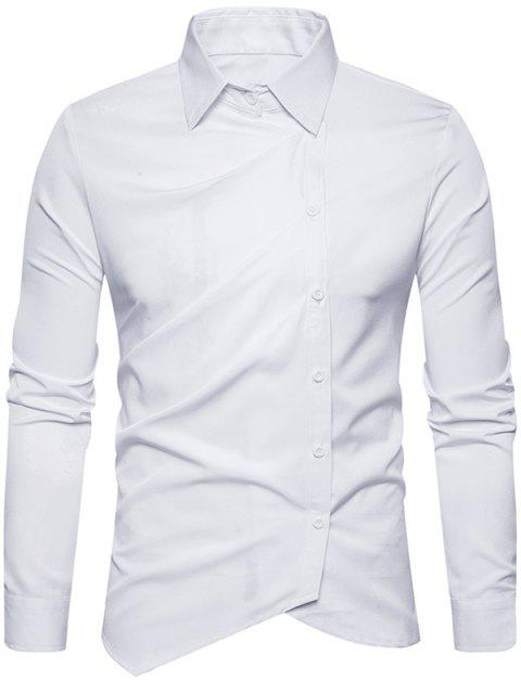 Oblique Button Up Long Sleeve Shirt - WHITE 2XL