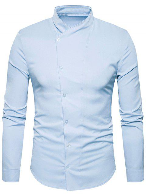 Stand Collar Oblique Buttons Shirt - LIGHT BLUE 2XL
