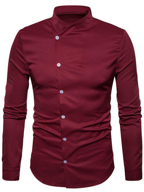 Stand Collar Oblique Buttons Shirt - WINE RED L