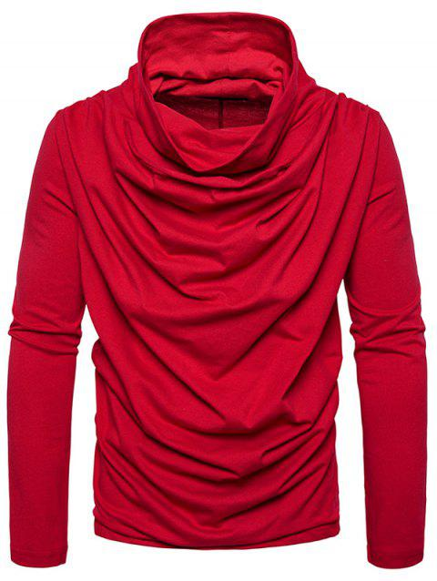 Cowl Neck Accordion Pleat T-shirt - RED S