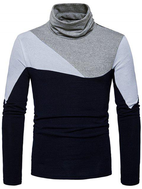 Cowl Neck Color Block Panel Sweater - Cadetblue M