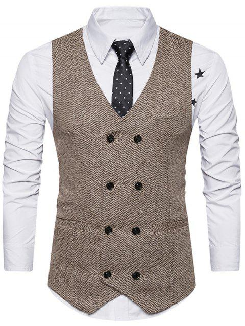 Belt Design Double Breasted Waistcoat - KHAKI S