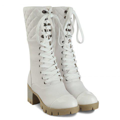 Lace Up Eyelet Quilted Mid Calf Boots - WHITE 37