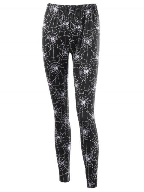 Halloween Fitted Leggings with Spider Web Print - BLACK M