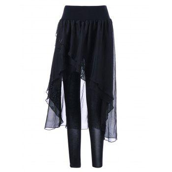 Irregular Chiffon Skirted Leggings - BLACK L