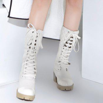 Lace Up Eyelet Quilted Mid Calf Boots - WHITE 36
