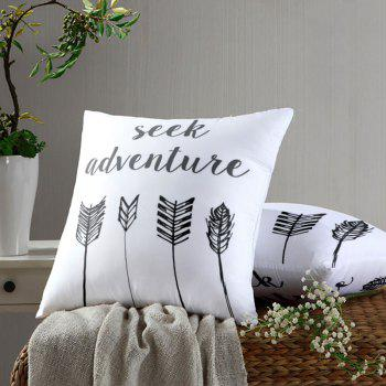 Seek Adventure Print Arrow Square Pillow Case - WHITE WHITE