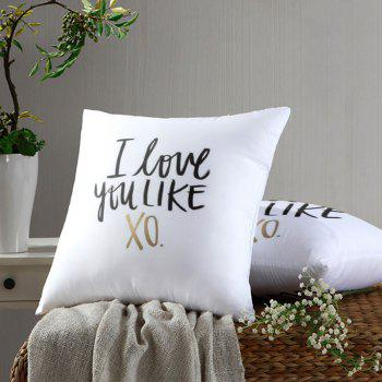 Letter Print Je t'aime comme XO Square Oreiller - Blanc W18 INCH * L18 INCH