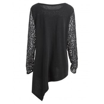 Plus Size Christmas Letter Asymmetric Lace Sleeve T-shirt - BLACK XL