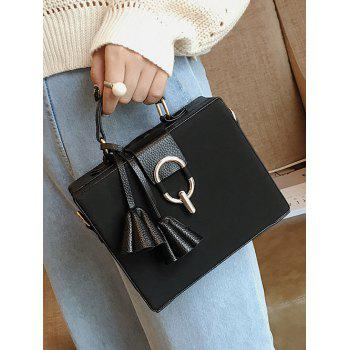 Box Shape Pendant Metal Detailed Handbag - BLACK