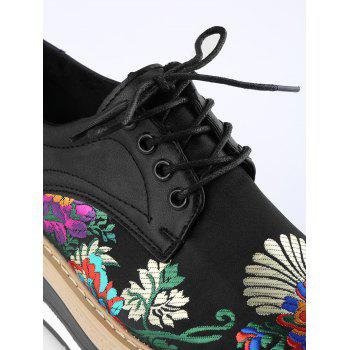 Flower Lace Up Wedge Shoes - BLACK 36