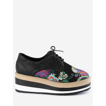 Flower Lace Up Wedge Shoes - BLACK 37