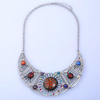 Rhinestone Hollow Color Beaded Design Necklace - SILVER SILVER
