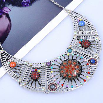 Rhinestone Hollow Color Beaded Design Necklace -  SILVER