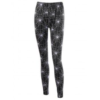 Halloween Fitted Leggings with Spider Web Print - BLACK BLACK