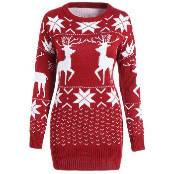 Maple Leaf Deer Tunic Christmas Sweater