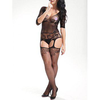 Cut Out Scoop Neck Fishnet Bodystockings - BLACK BLACK