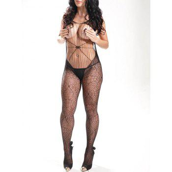 Spider Web Fishnet Bodystockings - BLACK BLACK