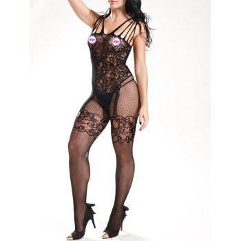 Fishnet Strappy Sheer Bodystockings - BLACK BLACK
