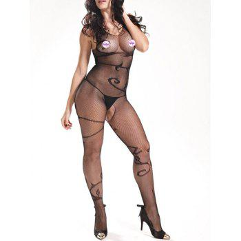 V Neck Fishnet Bodystockings - BLACK ONE SIZE