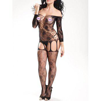 Off Shoulder Fishnet Bodystockings - BLACK ONE SIZE