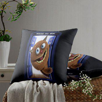Monster Police Box Printed Square Pillow Case - BLACK W20 INCH * L20 INCH