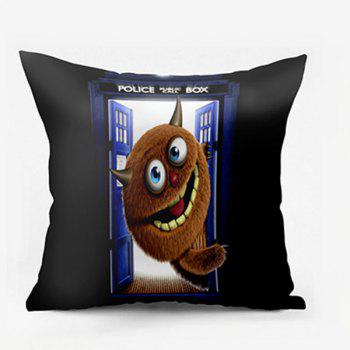 Monster Police Box Printed Square Pillow Case - BLACK W24 INCH * L24 INCH