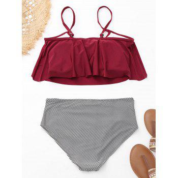 Flounce Cold Shoulder Striped Bikini Set - WINE RED L
