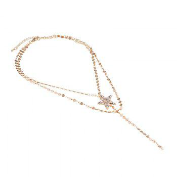 Star Round Chain Layered Longline Necklace -  GOLDEN