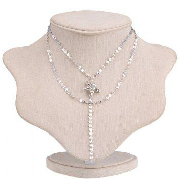 Star Round Chain Layered Longline Necklace - SILVER