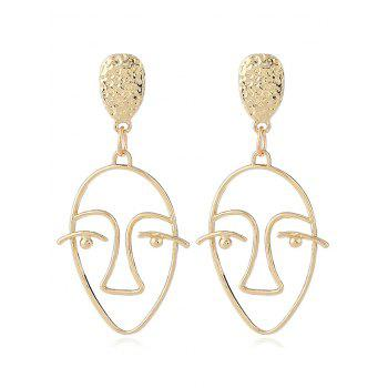 Geometric Face Hollow Stud Earrings - GOLDEN GOLDEN