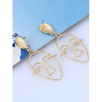 Geometric Face Hollow Stud Earrings - GOLDEN