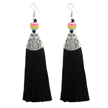 Bohemia Beaded Tassel Design Hook Earrings - Noir