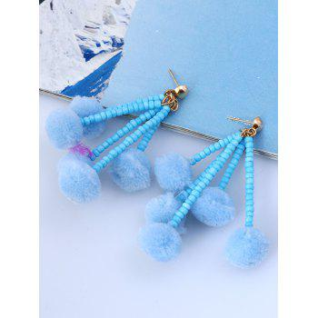 Beaded Chain Colorful Fuzzy Ball Drop Earrings -  BLUE