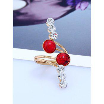 Rhinestone Faux Gem Full Finger Ring - GOLDEN