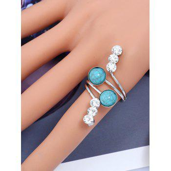 Rhinestone Faux Gem Full Finger Ring -  SILVER