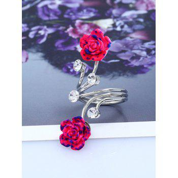 Rhinestone Alloy Flower Full Finger Ring - SILVER